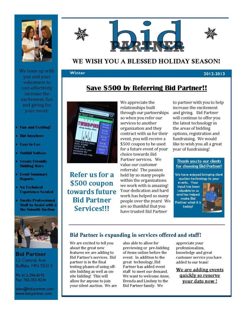 Bid Partner Winter 2012 newsletter