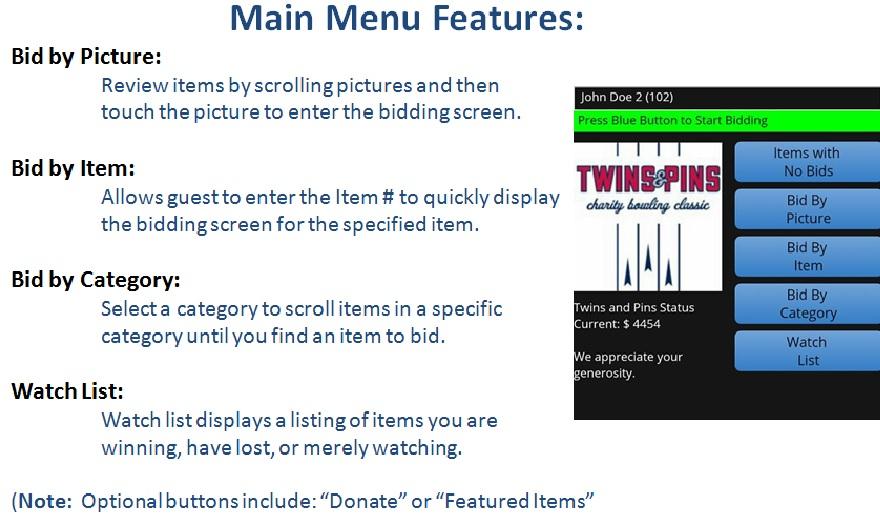 web page main menu